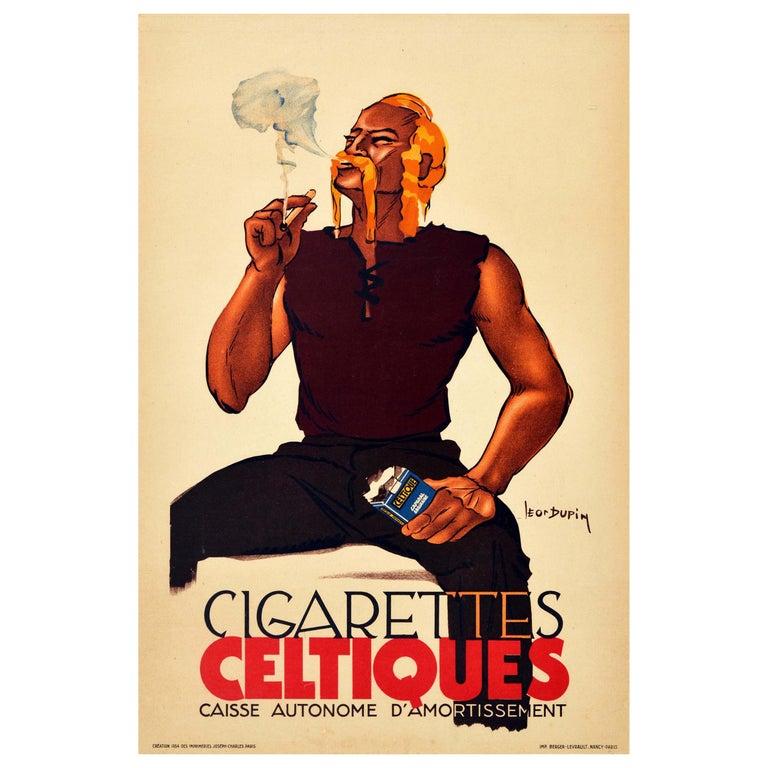 Original Vintage Poster Cigarettes Celtiques French Tobacco Smoking Man Artwork For Sale