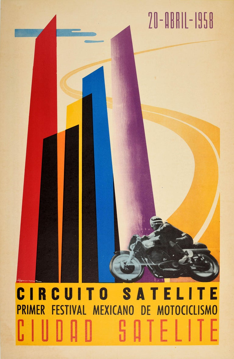 Original vintage motorsport poster advertising the Satellite Circuit First Mexican Motorcycle Festival in Satellite City / Circuito Satelite Primer Festival Mexicano de Motociclismo Ciudad Satelite on 20 April 1958 featuring a great graphic design