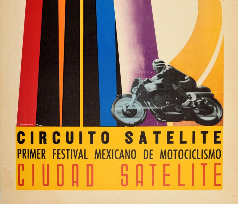 Original Vintage Poster Circuito Satelite Towers Mexico Motorcycle Race Festival In Good Condition For Sale In London, GB