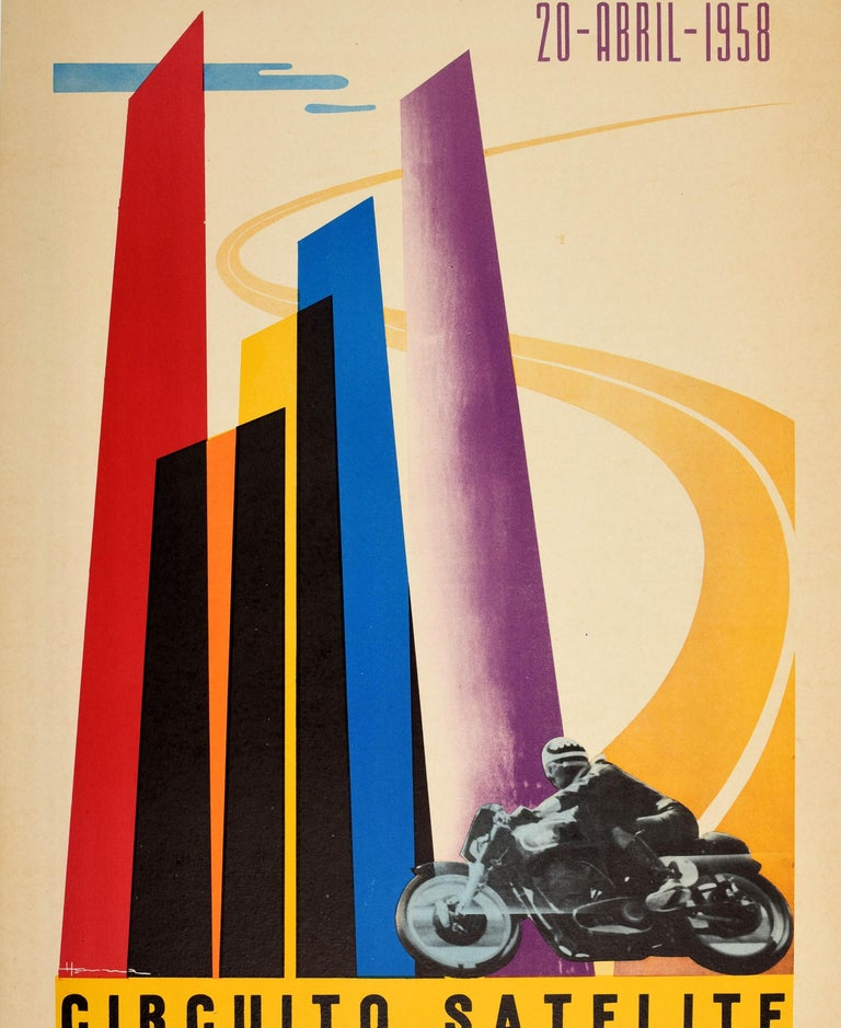 Mid-20th Century Original Vintage Poster Circuito Satelite Towers Mexico Motorcycle Race Festival For Sale