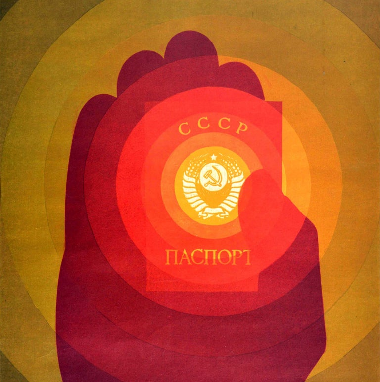 Original Vintage Poster Citizen Of The USSR CCCP Passport Soviet Propaganda Art In Good Condition For Sale In London, GB