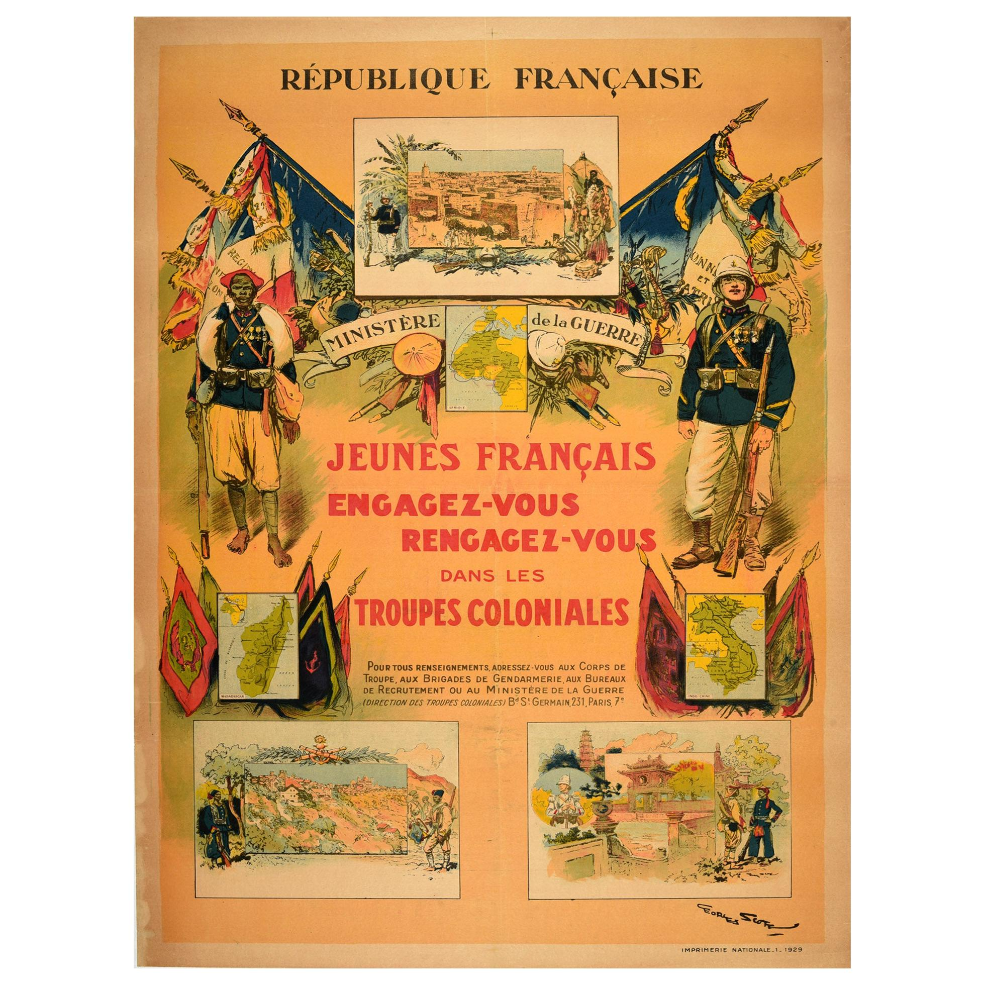 Original Vintage Poster Colonial Troops Military Recruitment France War Ministry