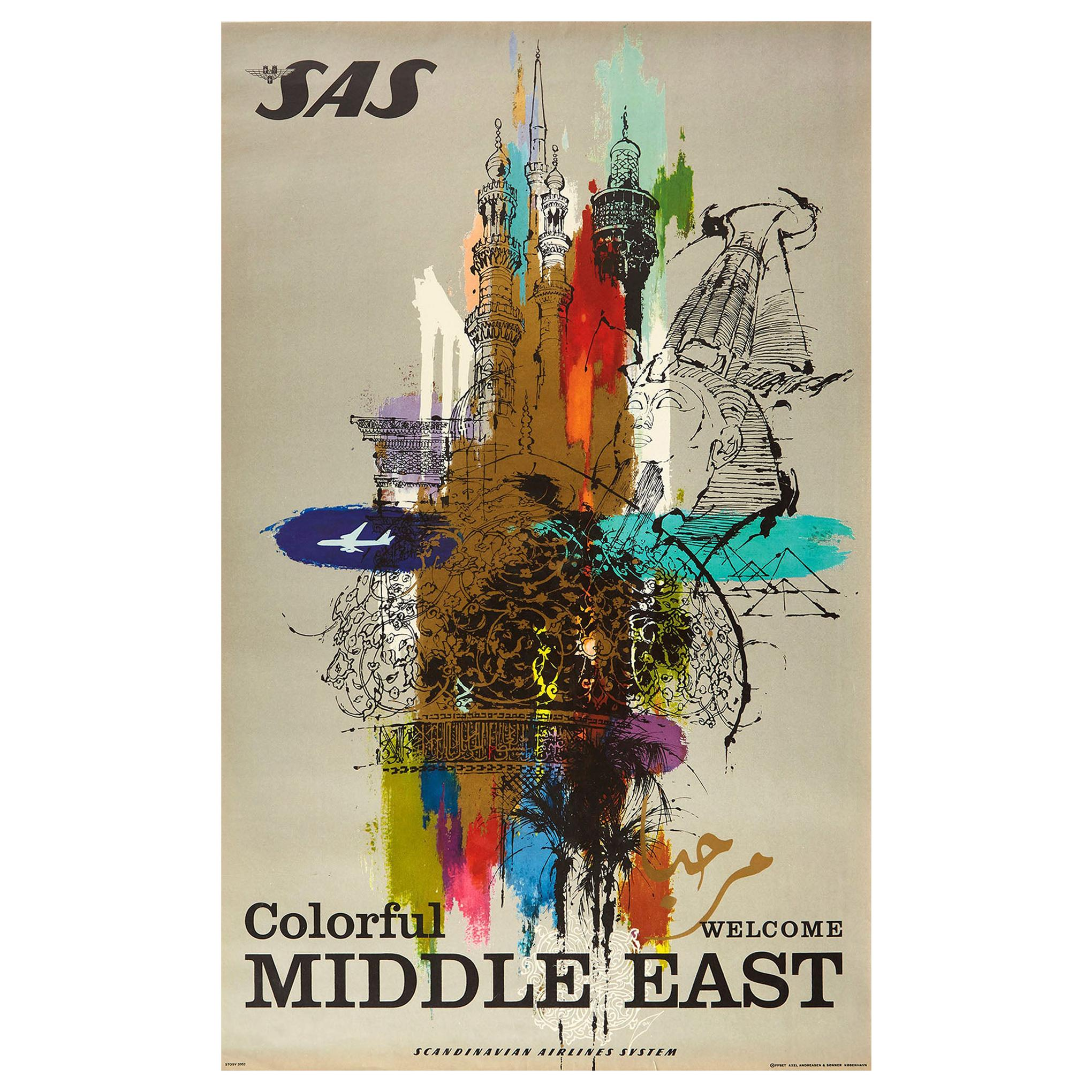 Original Vintage Poster Colorful Middle East SAS Airline Travel Sphinx Pyramids
