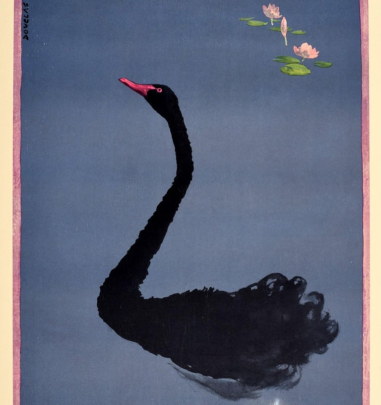 Original vintage sport travel poster for the Commonwealth Games Perth Australia 22 November-1 December 1962 featuring a great design by the Australian artist Douglas Annand (1903-1976) of water lilies and an elegant black swan against the blue