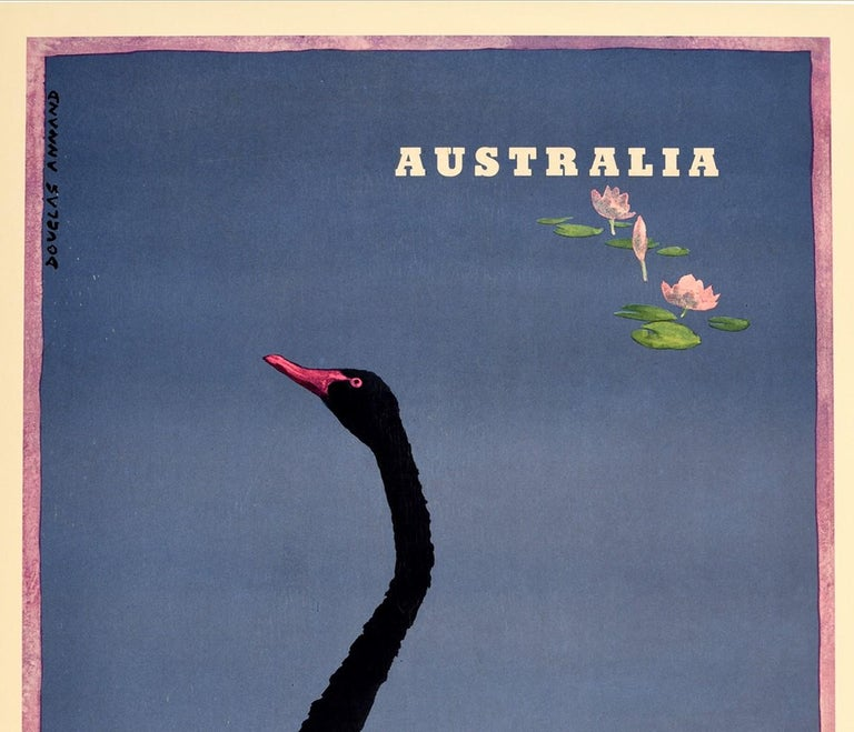 Australian Original Vintage Poster Commonwealth Games Perth Australia Black Swan Art Sport