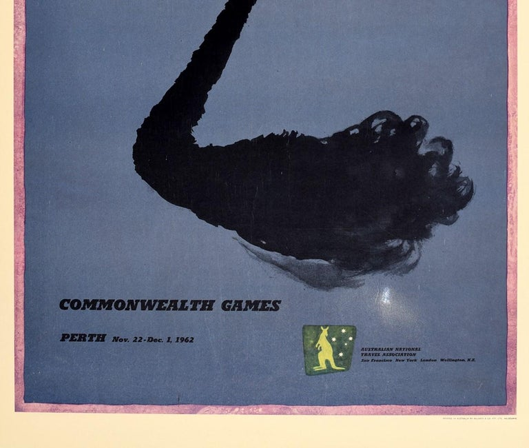 Original Vintage Poster Commonwealth Games Perth Australia Black Swan Art Sport In Good Condition In London, GB