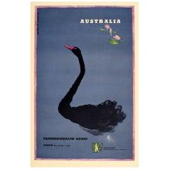 Original Vintage Poster Commonwealth Games Perth Australia Black Swan Art Sport