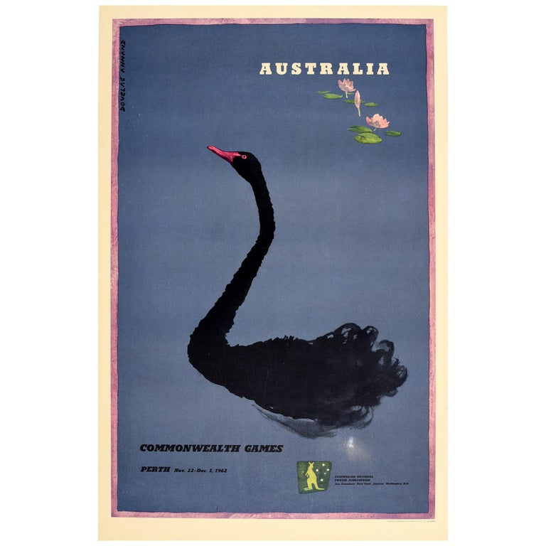 Original Vintage Poster Commonwealth Games Perth Australia Black Swan Art Sport