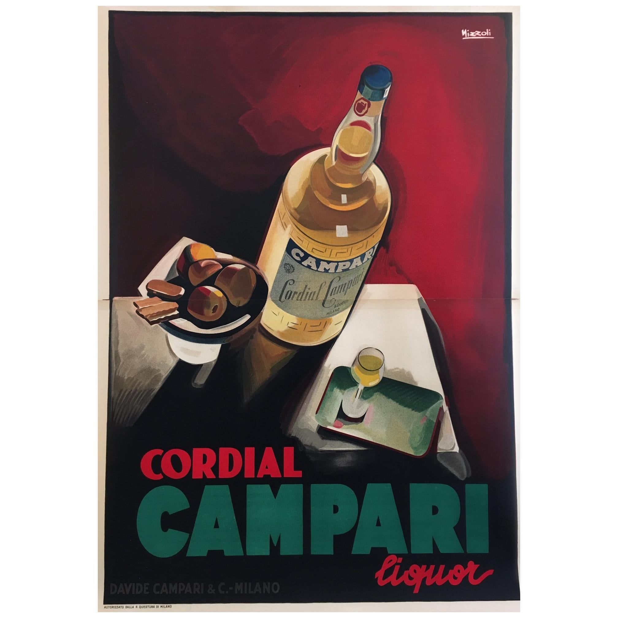 Original Vintage Poster, Cordial Campari Nizzoli 1927 Lithograph Beverage