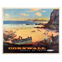 Original Vintage Poster Cornwall British Railways Travel by Train Seaside Summer