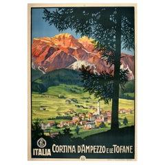 Original Vintage Poster Cortina D'Ampezzo E Le Tofane Dolomites Italy Travel Art