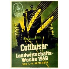 Original Vintage Poster Cottbuser Landwirtschafts Woche Agriculture Farm Tractor