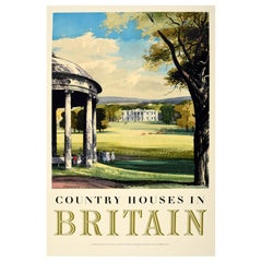 Original Vintage Poster Country Houses In Britain Travel Painting Landscape Art