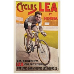 Original Vintage Poster Cycles Lea et Norma 1920 Bicycle Lithograph poster