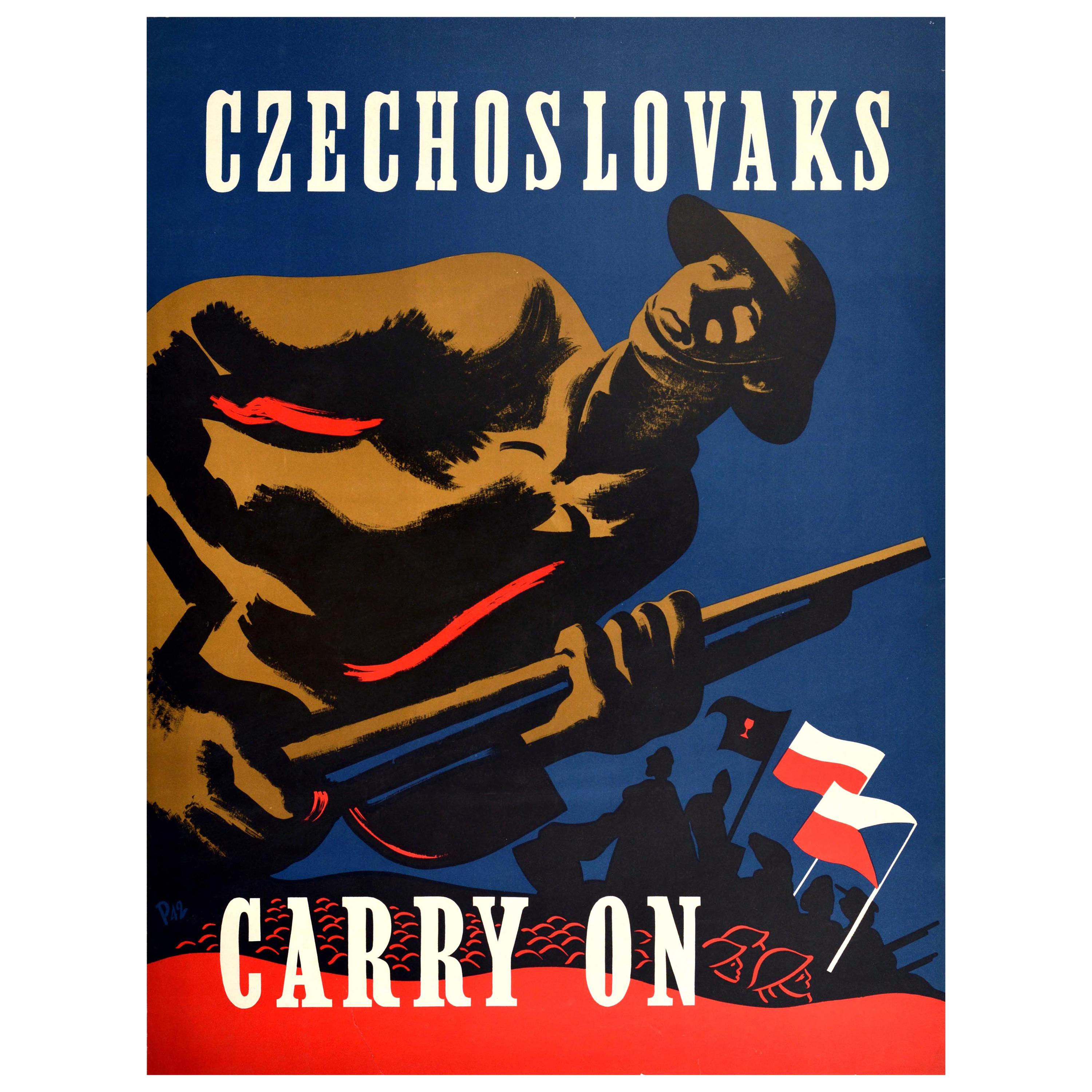 Original Vintage Poster Czechoslovaks Carry On WWII Soldiers Army Flags War Art