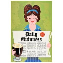 Original Vintage Poster Daily Guinness Newspaper Design Irish Stout Beer Drink