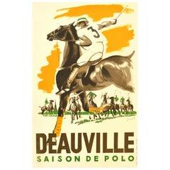 Original Vintage Poster Deauville Saison De Polo Season Equestrian Sport Horses