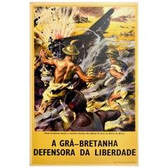 Original Vintage Poster Defender Of Freedom British Forces N. Africa WWII Army