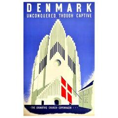 Original Vintage Poster Denmark Unconquered Though Captive WWII Grundtvig Church