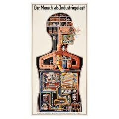 Original Vintage Poster Der Mensch Als Industriepalast Man As Industrial Palace