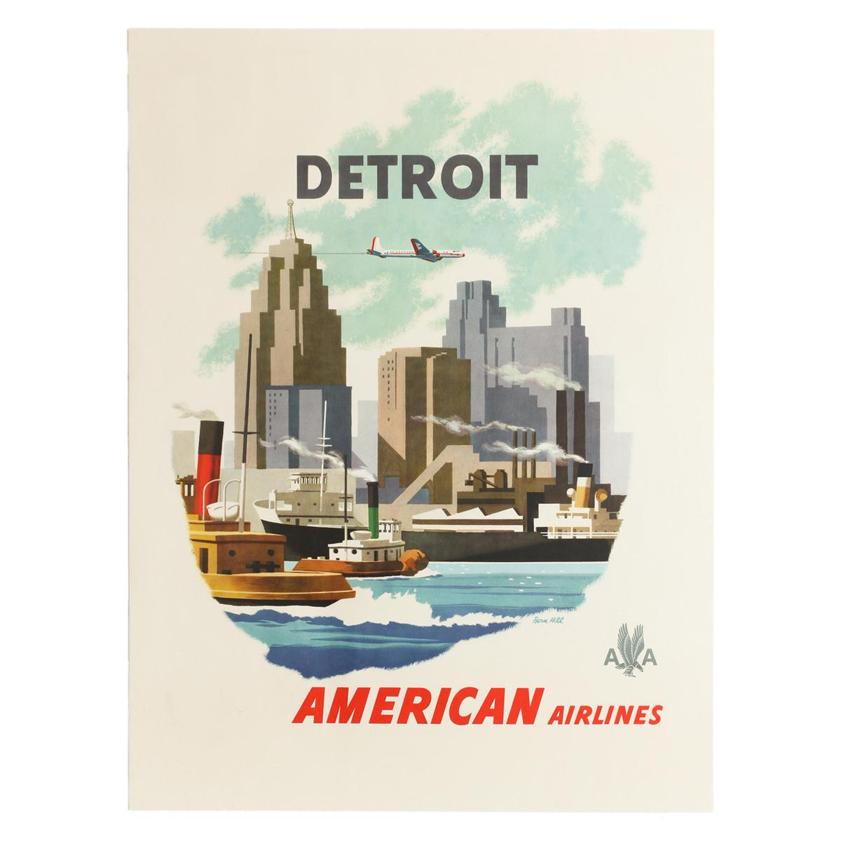 Original Vintage Poster Detroit American Airlines AA Travel City Design Michigan