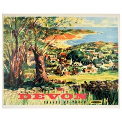 Original Vintage Poster Devon Travel By Train British Railways Countryside Beach