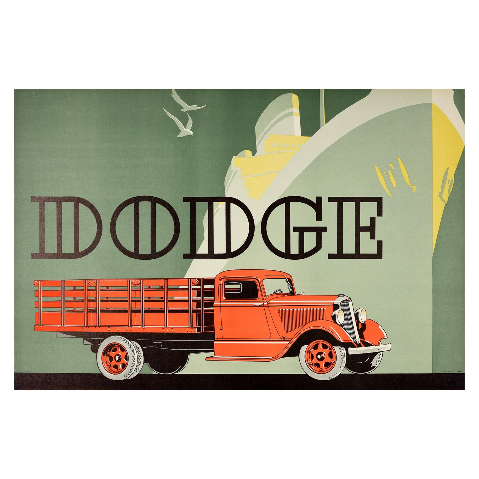 Original Vintage Poster Dodge Truck America Art Deco Cruise Ship Liner Design