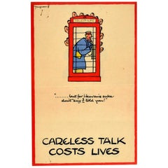 Original Vintage Poster Don't Say I Told You Careless Talk Costs Lives WWII Call