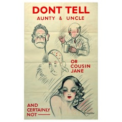 Original Vintage Poster Don't Talk WWII Home Front Propaganda Warning Dont Tell