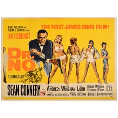 Original Vintage Poster Dr No The First James Bond Film Sean Connery 007 UK Quad