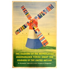 Original Vintage Poster Dutch Resistance Allied Soldiers United Nations WWII Art