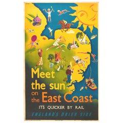 Original Vintage Poster East Coast England LNER Railway Travel Map Sun Sport Art