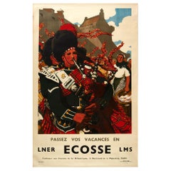 Original Vintage Poster Ecosse Scotland LNER LMS Railway Black Watch Bagpipers