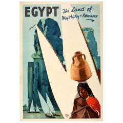 Original Vintage Poster Egypt The Land Of Mystery And Romance Travel River Nile