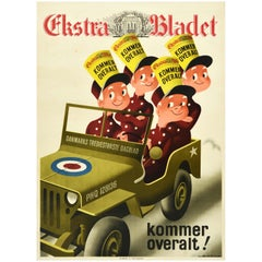Original Vintage Poster Ekstra Bladet Danish Newspaper WWII Royal Air Force Jeep