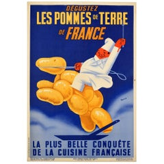Original Vintage Poster Enjoy Potatoes Of France Agriculture Food French Cuisine