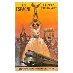 Original Vintage Poster Espagne La Fete Est Un Art Festival Spain Railway Travel