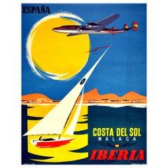 Original Vintage Poster Espana Costa Del Sol Malaga Iberia Spain Yacht Mountains