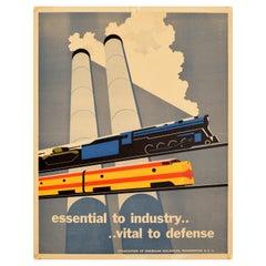 Original Vintage Poster Essential To Industry Defense Rail Trains Tanks Factory