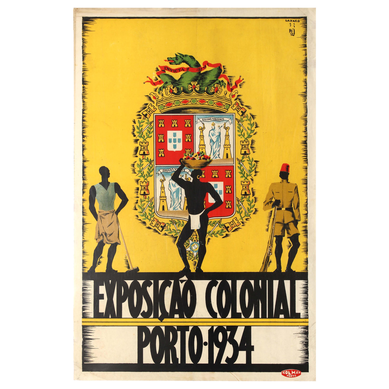 Original Vintage Poster Exposicao Colonial Exhibition Porto World Fair Portugal
