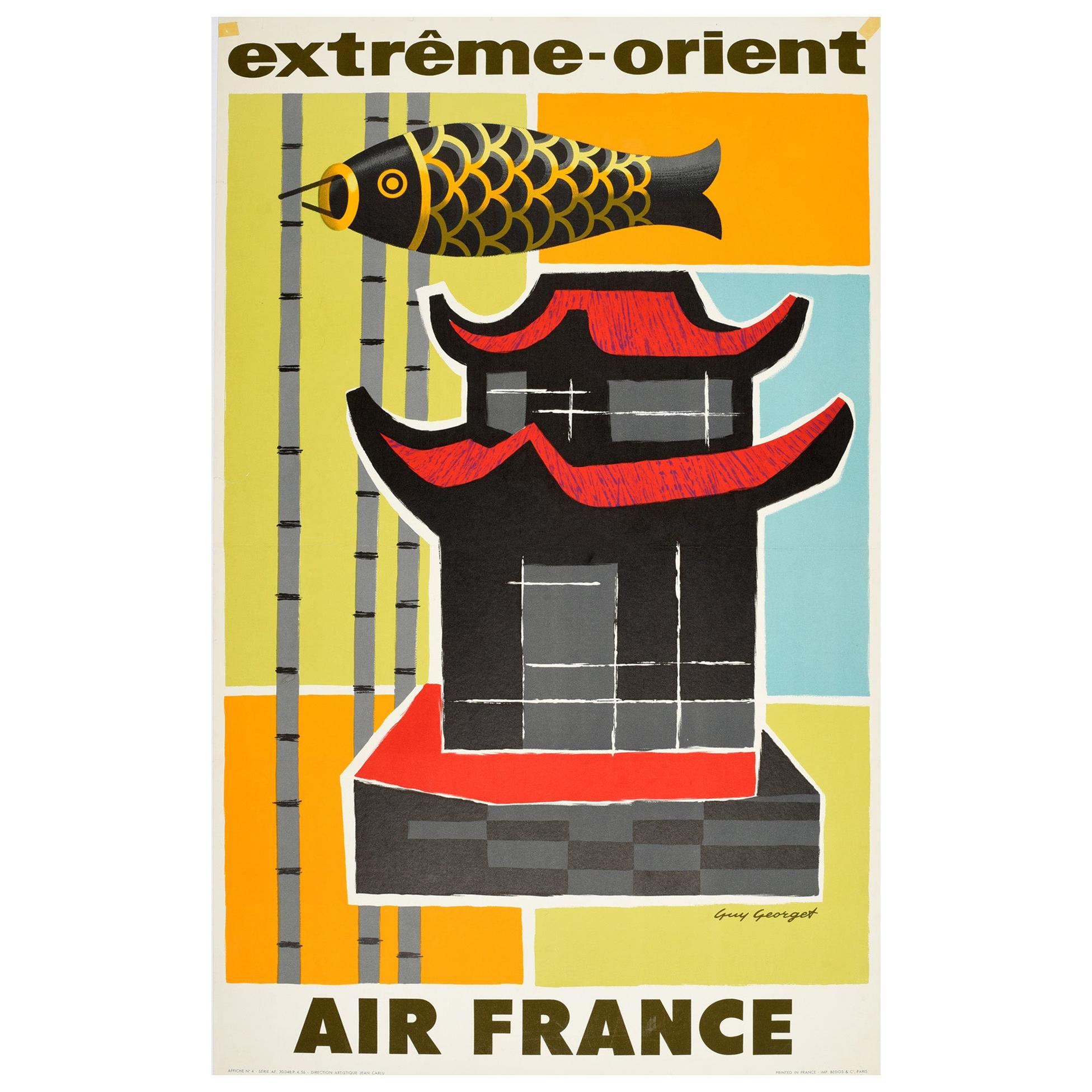 Original Vintage Poster Extreme Orient Air France Far East Travel Midcentury