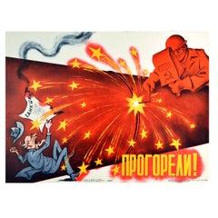 Original Vintage Poster Failed USA Sanctions Soviet Gas Pipeline Cold War USSR