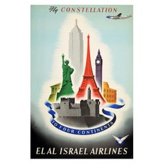 Original Vintage Poster Fly Constellation Four Continents El Al Israel Airlines