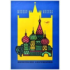 Original Vintage Poster Fly Deutsche Lufthansa Moskau Moscow Kremlin St Basil's