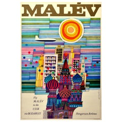 Original Vintage Poster Fly Malev To USSR Budapest Moscow St Basil's Cathedral