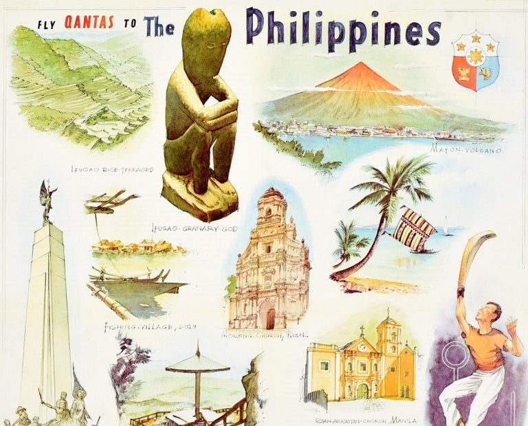 Original vintage travel poster - fly Qantas to the Philippines - featuring colorful scenic illustrations including the Mayon volcano, rice terraces, a sports man playing jai-alai, the Philippine Congress and University buildings, a view of the