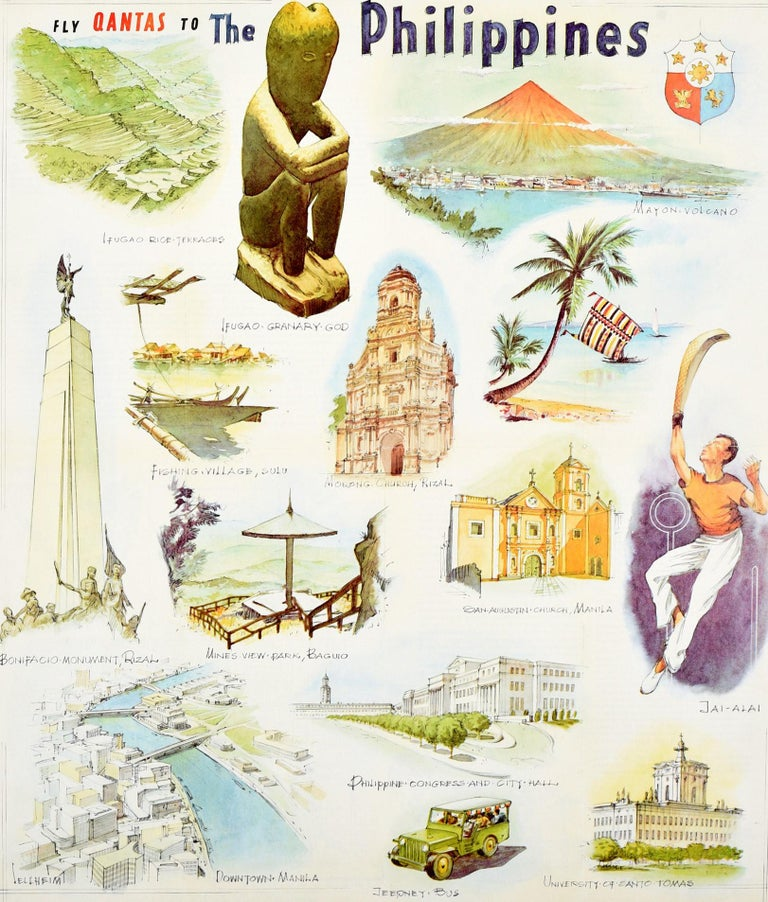 Original Vintage Poster Fly Qantas To The Philippines Travel Art Illustrations In Good Condition For Sale In London, GB