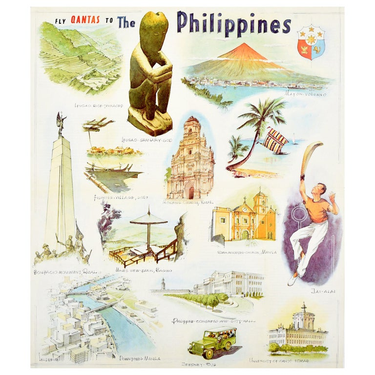 Original Vintage Poster Fly Qantas To The Philippines Travel Art Illustrations For Sale