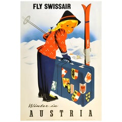 Original Vintage Poster Fly Swissair Winter In Austria Osterreich Skiing Sport