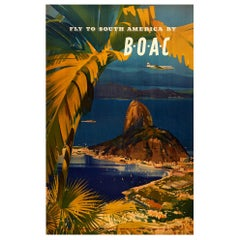 Original Vintage Poster Fly To South America By BOAC Airline Travel Rio Brazil